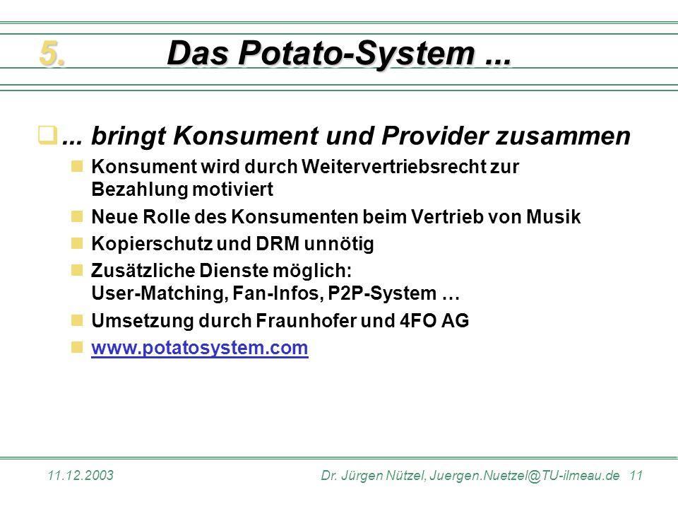 Das Potato-System ... 5. ... bringt Konsument und Provider zusammen