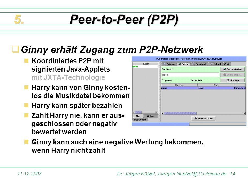 Peer-to-Peer (P2P) 5. Ginny erhält Zugang zum P2P-Netzwerk