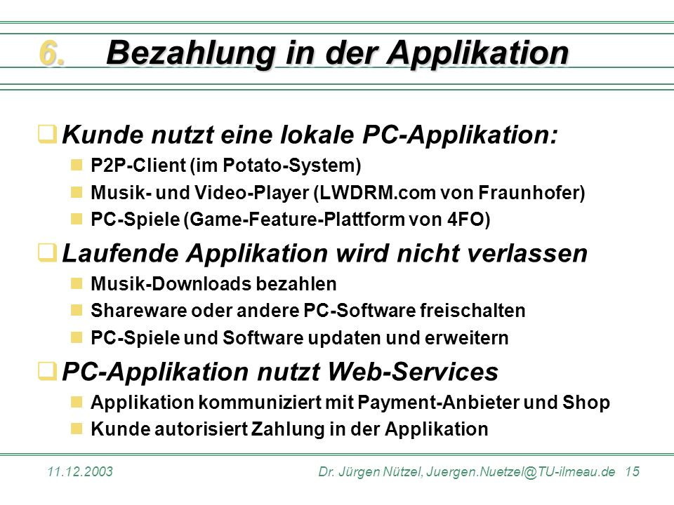 Bezahlung in der Applikation