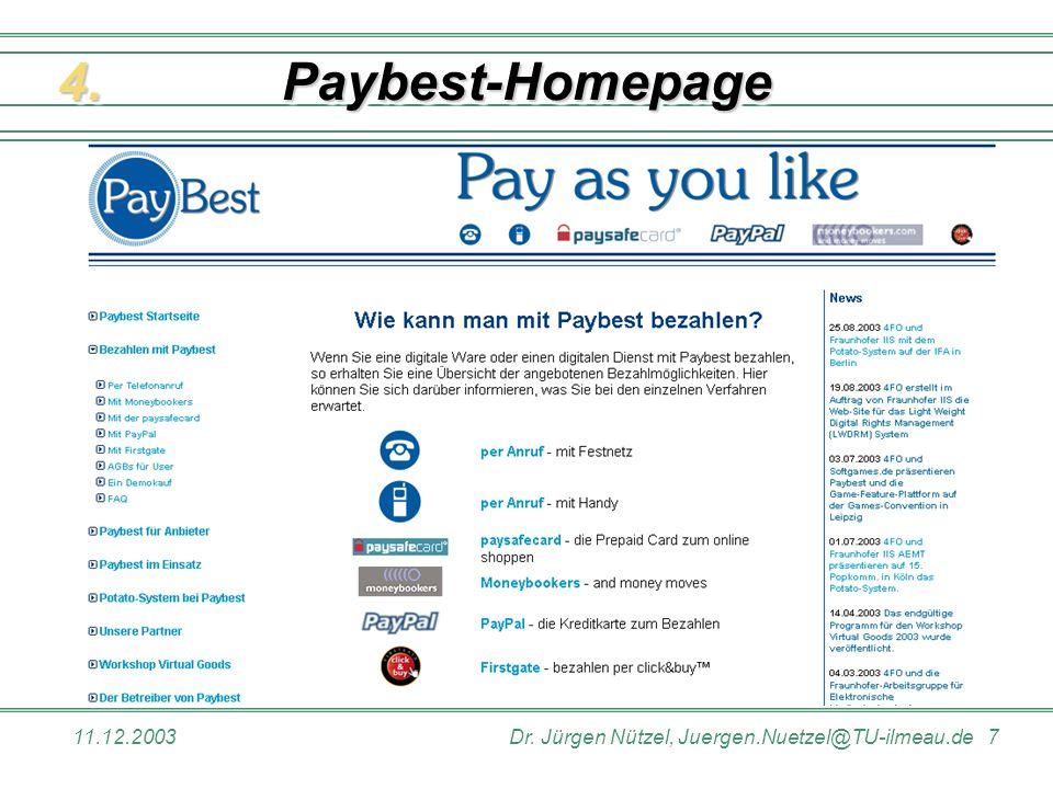 Paybest-Homepage 4. 11.12.2003 Dr. Jürgen Nützel, Juergen.Nuetzel@TU-ilmeau.de 7