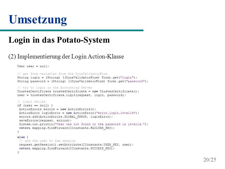 Umsetzung Login in das Potato-System