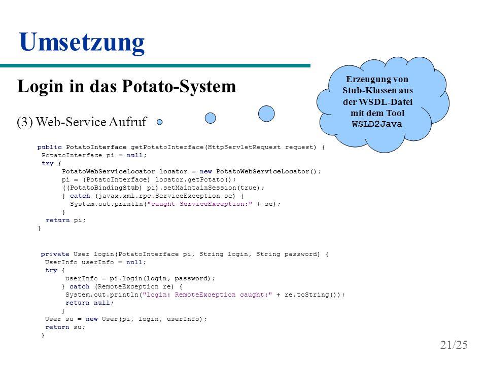 Erzeugung von Stub-Klassen aus der WSDL-Datei mit dem Tool WSLD2Java