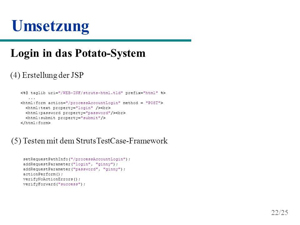 Umsetzung Login in das Potato-System (4) Erstellung der JSP