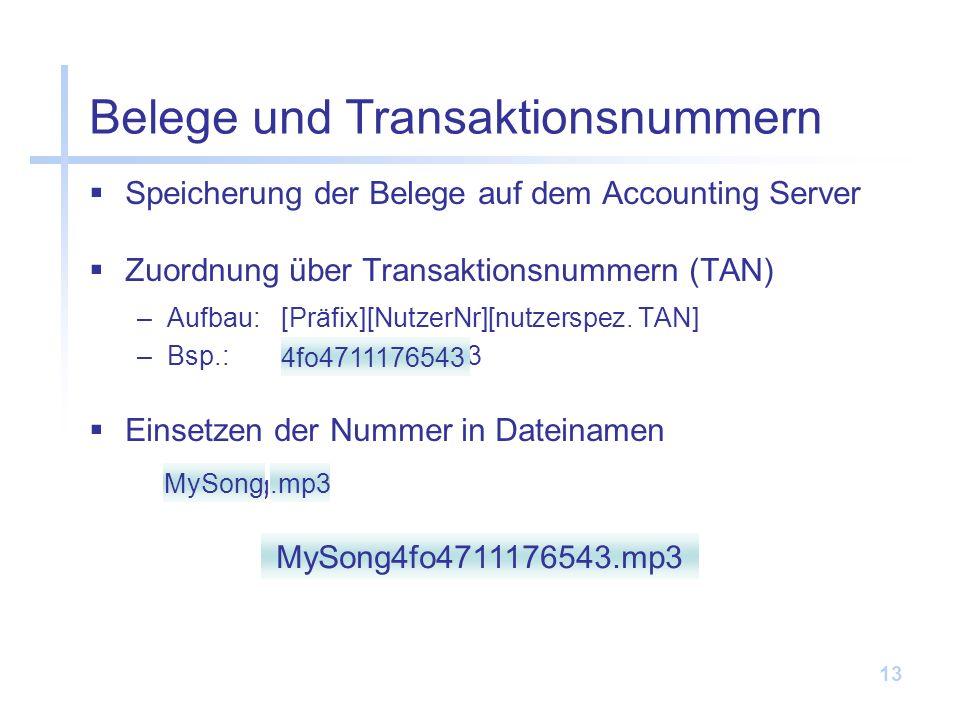 Belege und Transaktionsnummern