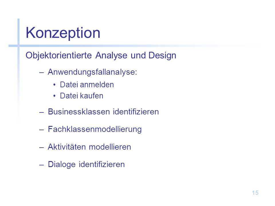 Konzeption Objektorientierte Analyse und Design Anwendungsfallanalyse: