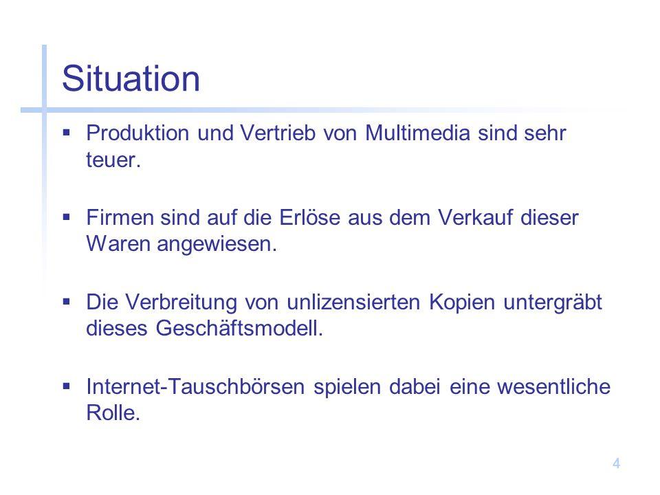 Situation Produktion und Vertrieb von Multimedia sind sehr teuer.