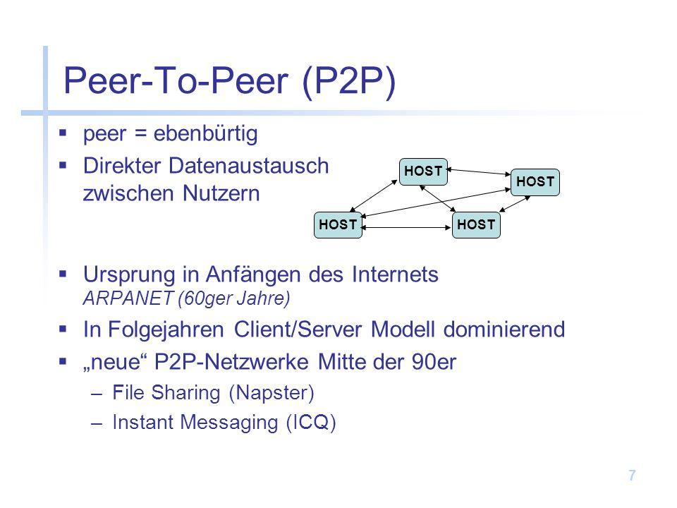 Peer-To-Peer (P2P) peer = ebenbürtig