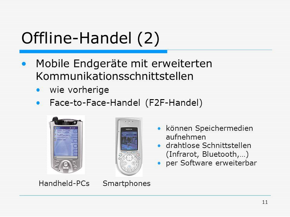 Offline-Handel (2) Mobile Endgeräte mit erweiterten Kommunikationsschnittstellen. wie vorherige. Face-to-Face-Handel (F2F-Handel)