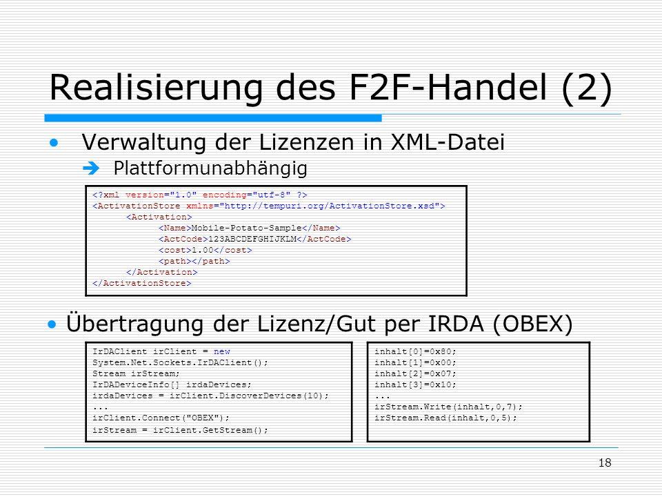 Realisierung des F2F-Handel (2)