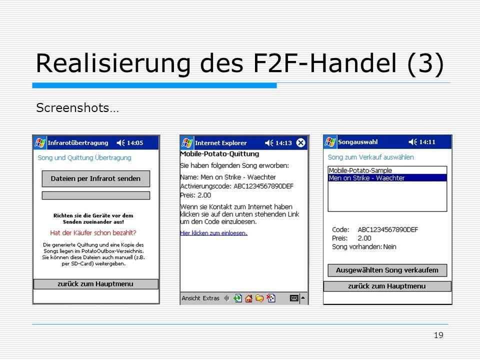 Realisierung des F2F-Handel (3)