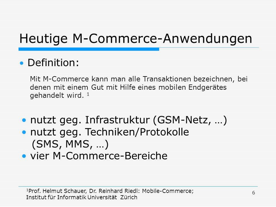 Heutige M-Commerce-Anwendungen