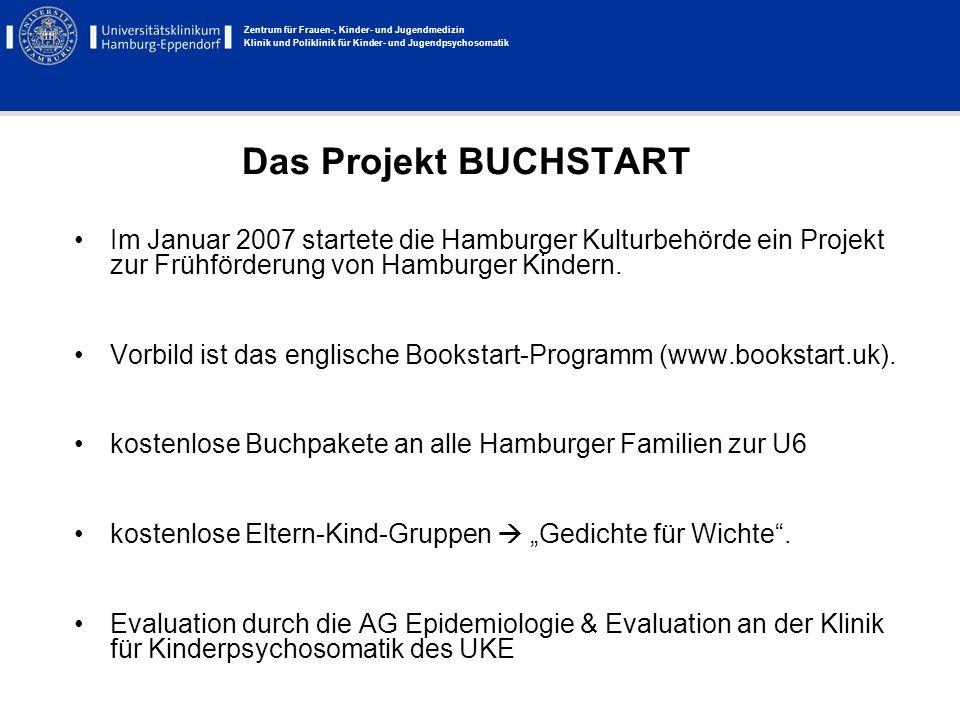 Das Projekt BUCHSTART Im Januar 2007 startete die Hamburger Kulturbehörde ein Projekt zur Frühförderung von Hamburger Kindern.