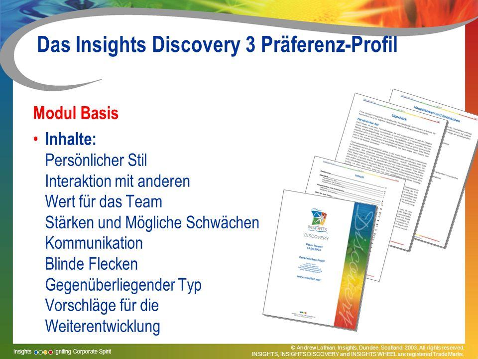 Das Insights Discovery 3 Präferenz-Profil