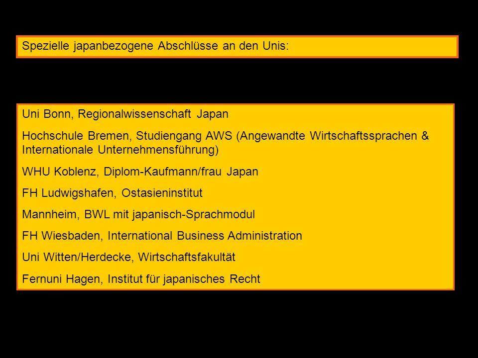Spezielle japanbezogene Abschlüsse an den Unis: