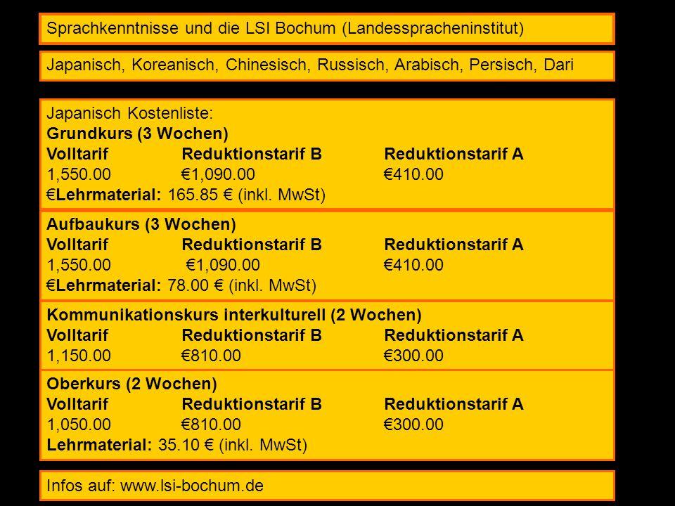 Sprachkenntnisse und die LSI Bochum (Landesspracheninstitut)