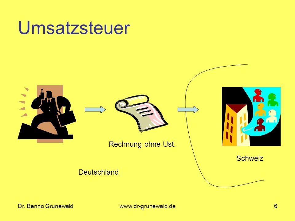 Umsatzsteuer Rechnung ohne Ust. Schweiz Deutschland