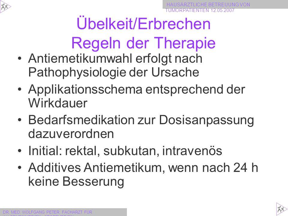 Übelkeit/Erbrechen Regeln der Therapie