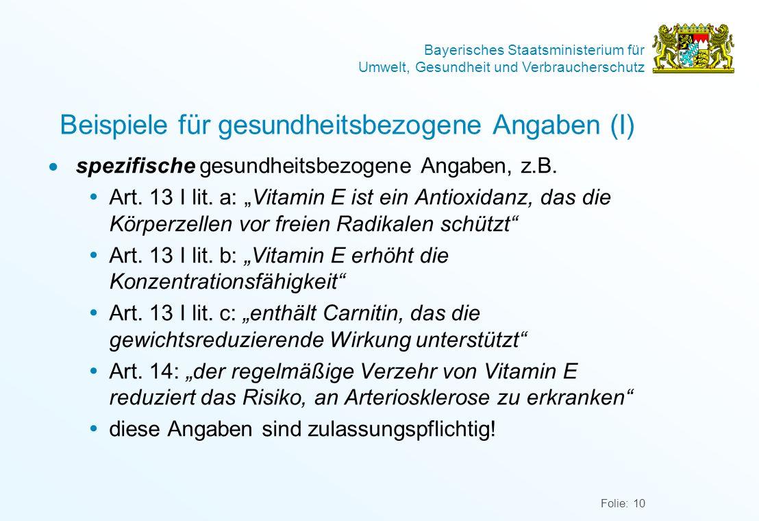 Beispiele für gesundheitsbezogene Angaben (I)