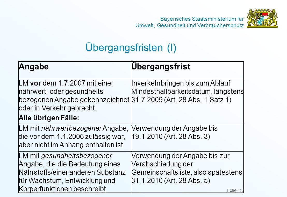 Übergangsfristen (I) Angabe Übergangsfrist