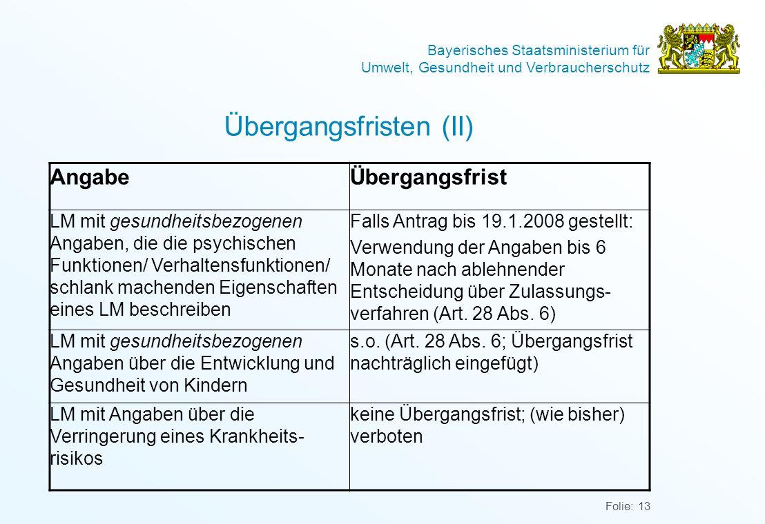 Übergangsfristen (II)