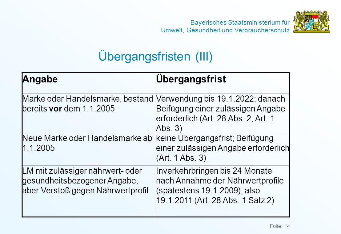 Übergangsfristen (III)