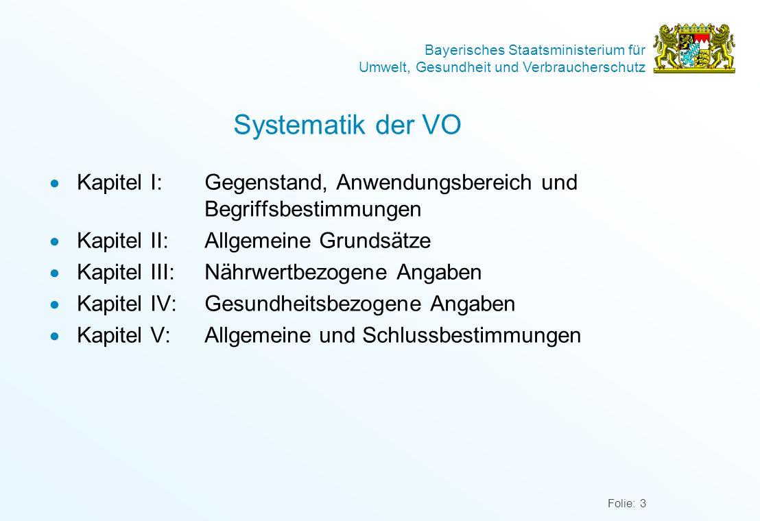 Systematik der VO Kapitel I: Gegenstand, Anwendungsbereich und Begriffsbestimmungen. Kapitel II: Allgemeine Grundsätze.