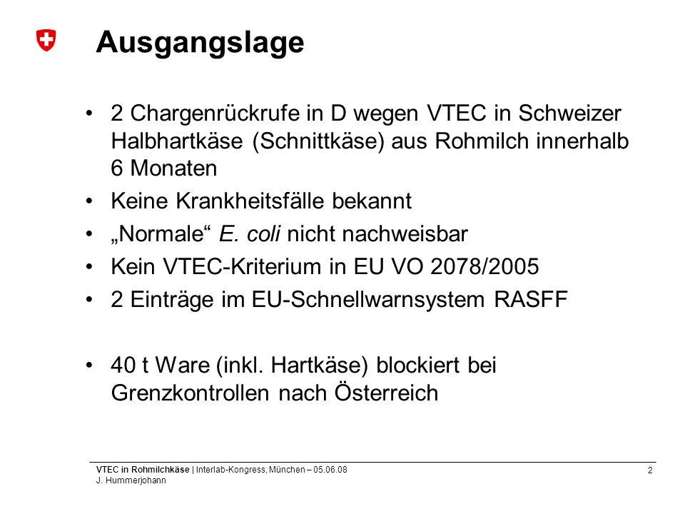 Ausgangslage 2 Chargenrückrufe in D wegen VTEC in Schweizer Halbhartkäse (Schnittkäse) aus Rohmilch innerhalb 6 Monaten.