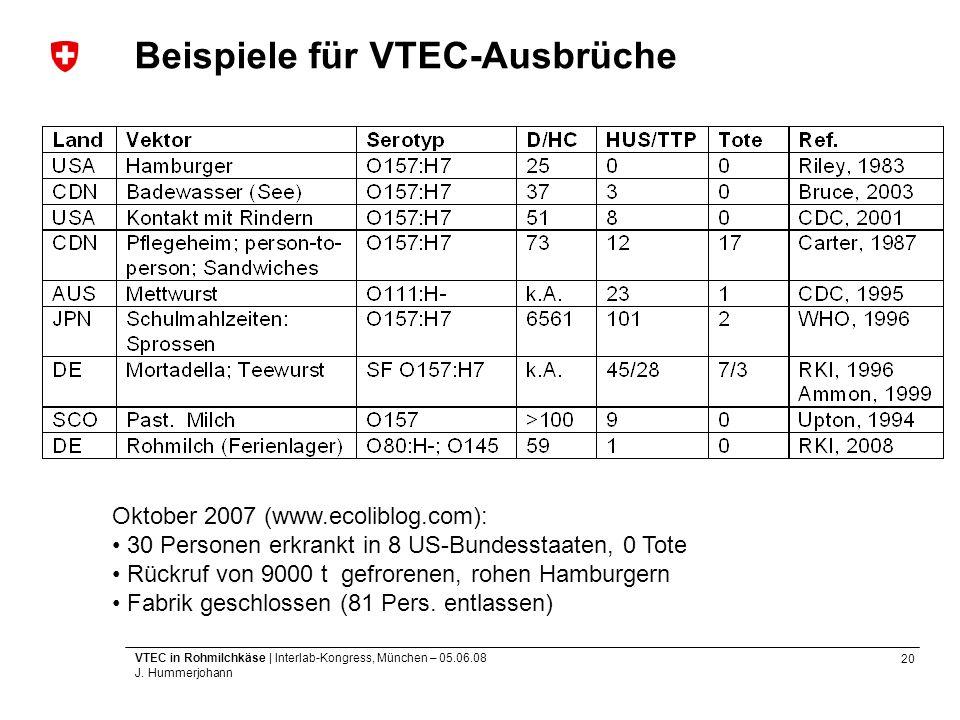 Beispiele für VTEC-Ausbrüche