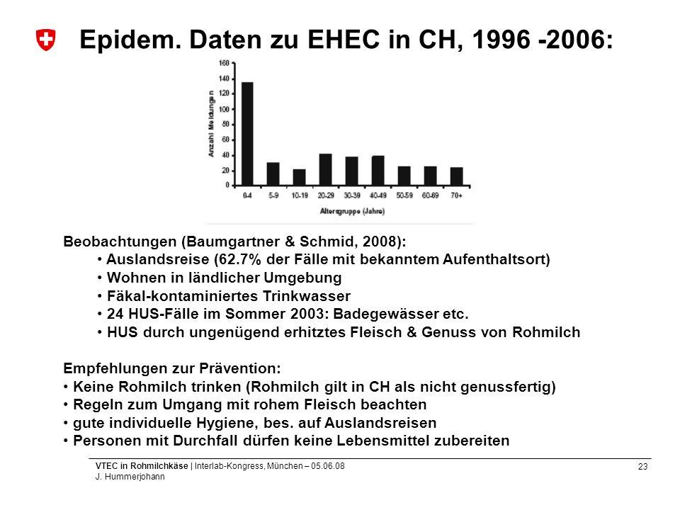Epidem. Daten zu EHEC in CH, 1996 -2006: