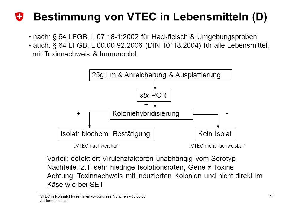 Bestimmung von VTEC in Lebensmitteln (D)