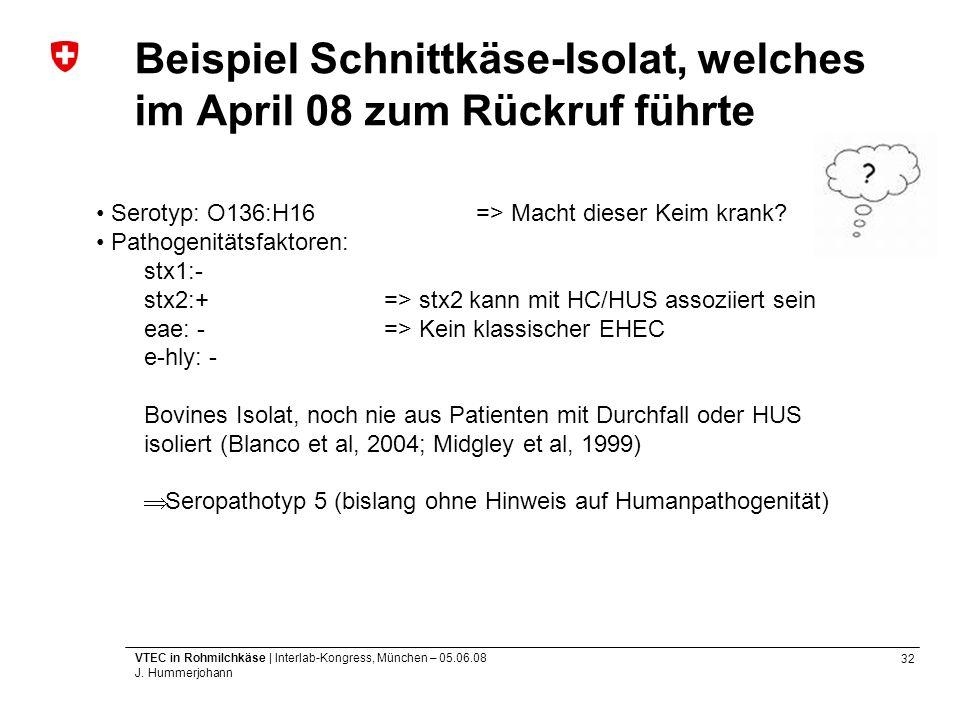 Beispiel Schnittkäse-Isolat, welches im April 08 zum Rückruf führte