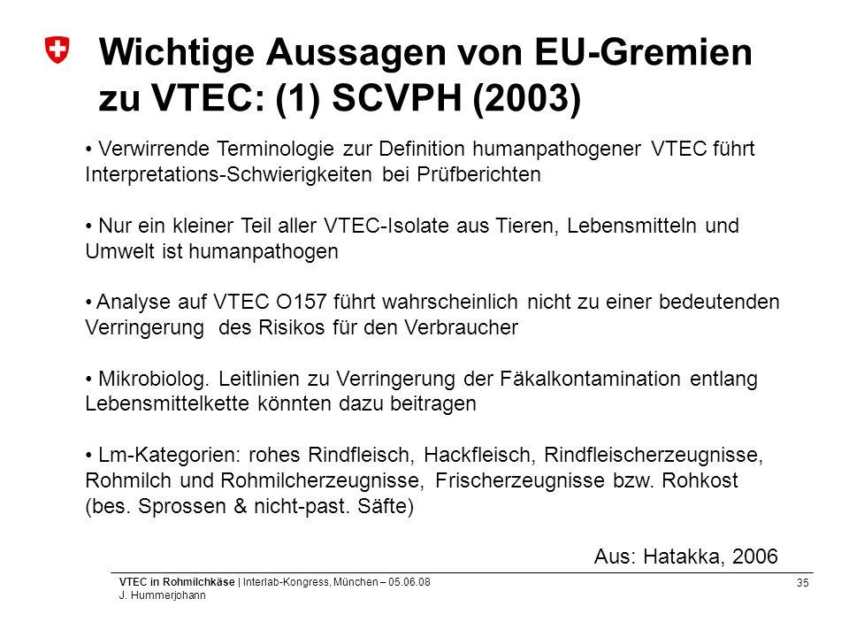 Wichtige Aussagen von EU-Gremien zu VTEC: (1) SCVPH (2003)