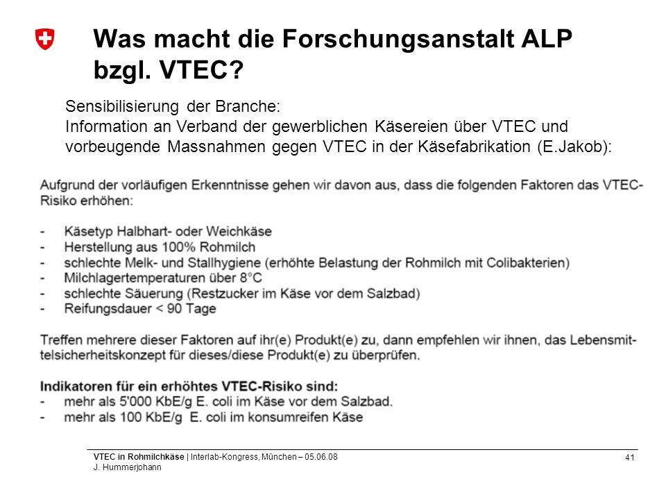 Was macht die Forschungsanstalt ALP bzgl. VTEC