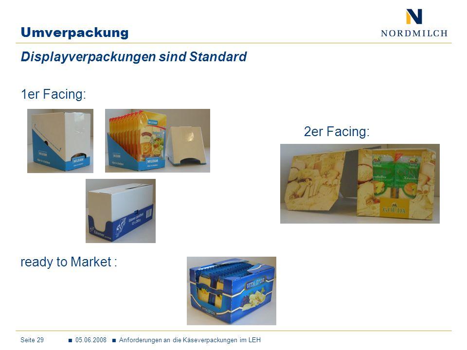 Umverpackung Displayverpackungen sind Standard 1er Facing: 2er Facing: ready to Market :