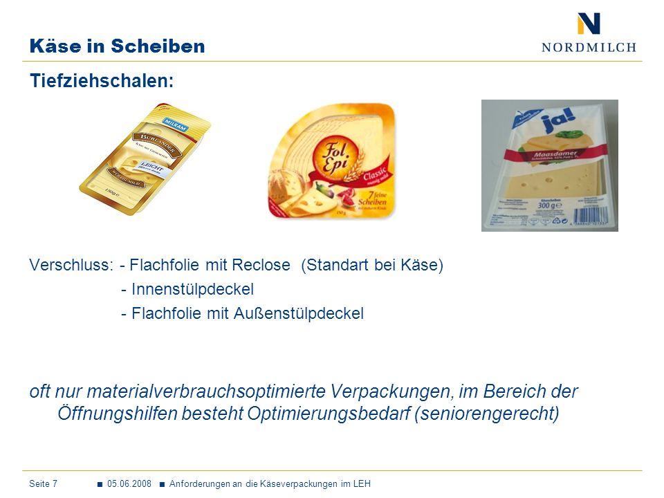 Käse in Scheiben Tiefziehschalen: