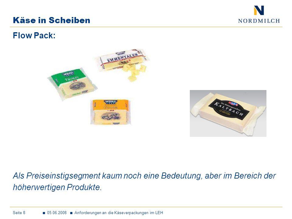 Käse in Scheiben Flow Pack: Als Preiseinstigsegment kaum noch eine Bedeutung, aber im Bereich der.