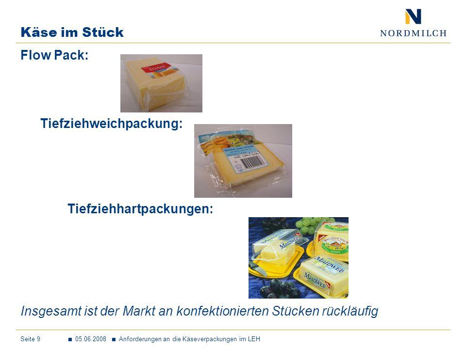 Käse im Stück Flow Pack: Tiefziehweichpackung: Tiefziehhartpackungen: Insgesamt ist der Markt an konfektionierten Stücken rückläufig.