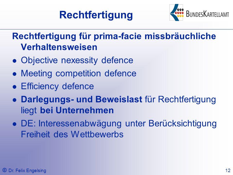 Rechtfertigung Rechtfertigung für prima-facie missbräuchliche Verhaltensweisen. Objective nexessity defence.