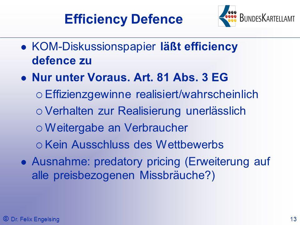 Efficiency Defence KOM-Diskussionspapier läßt efficiency defence zu