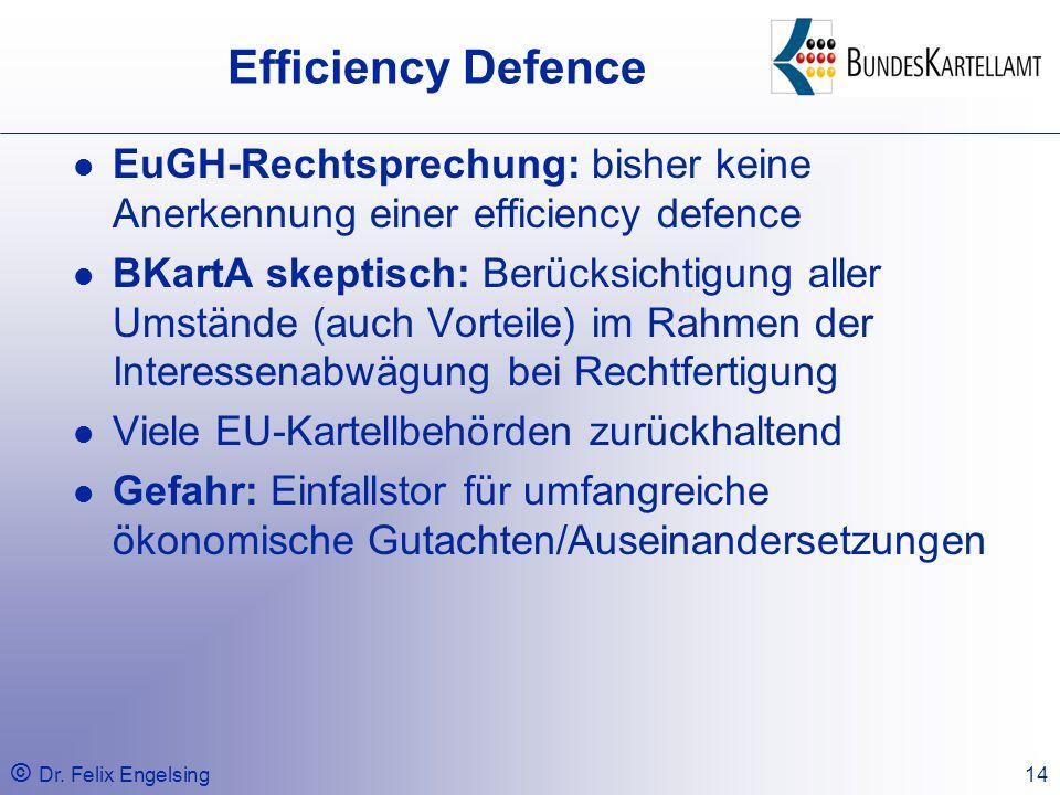 Efficiency Defence EuGH-Rechtsprechung: bisher keine Anerkennung einer efficiency defence.