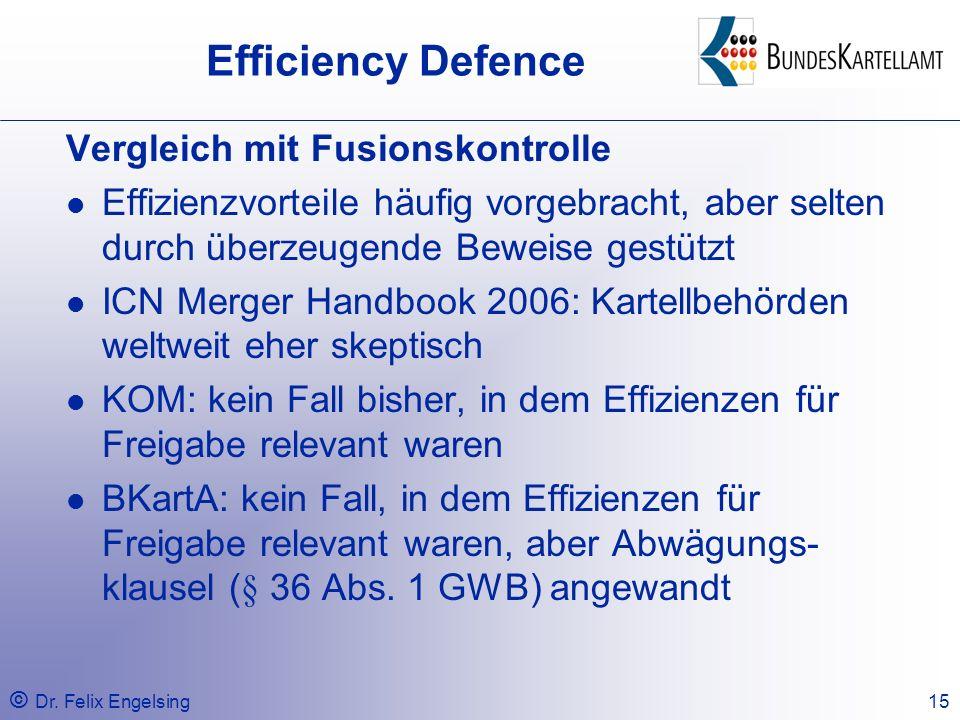 Efficiency Defence Vergleich mit Fusionskontrolle