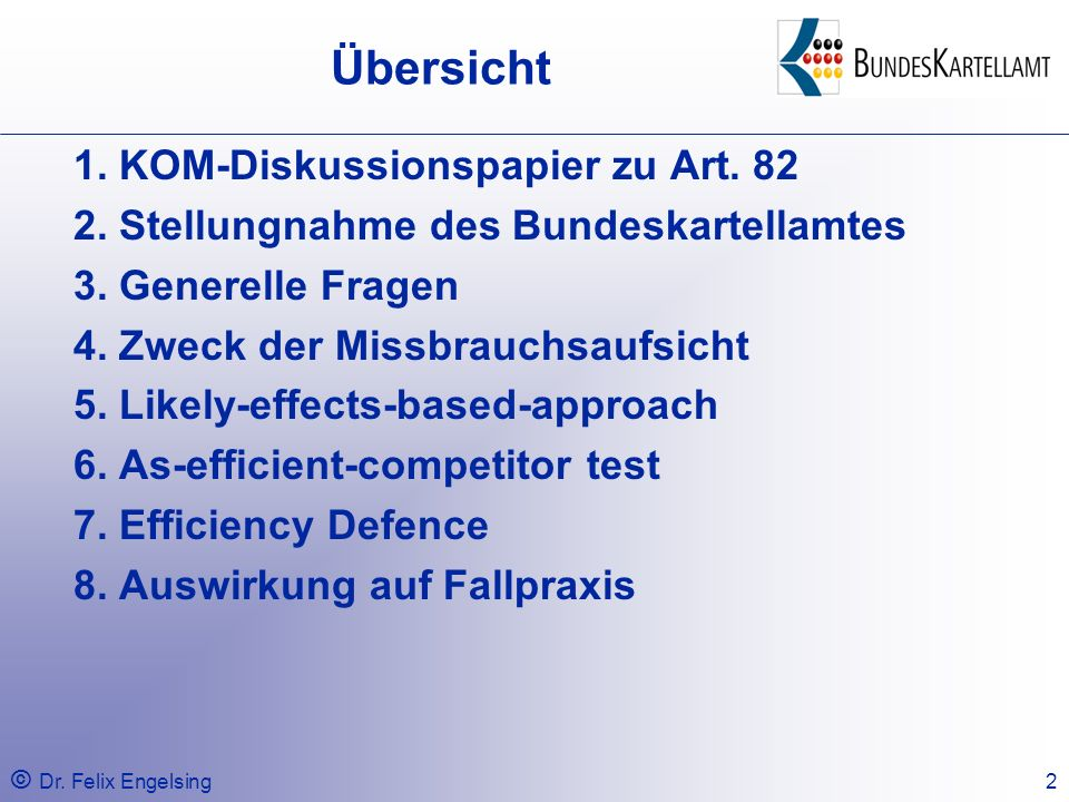 Übersicht 1. KOM-Diskussionspapier zu Art. 82