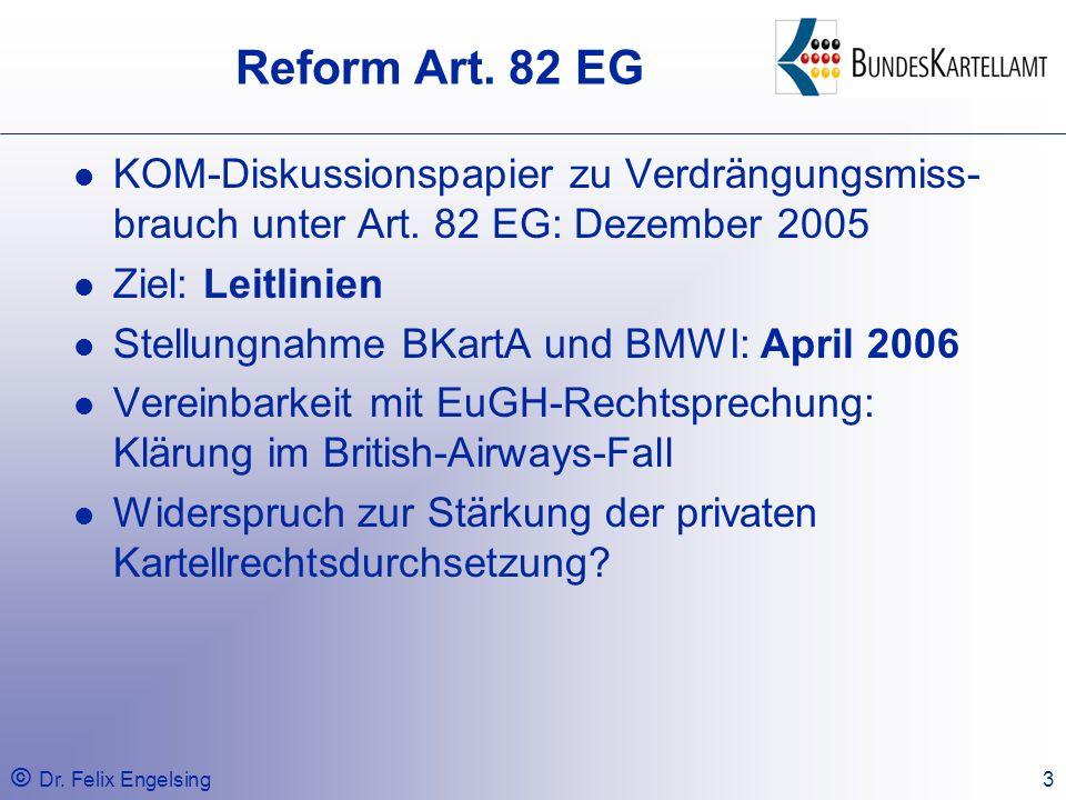 Reform Art. 82 EG KOM-Diskussionspapier zu Verdrängungsmiss-brauch unter Art. 82 EG: Dezember 2005.