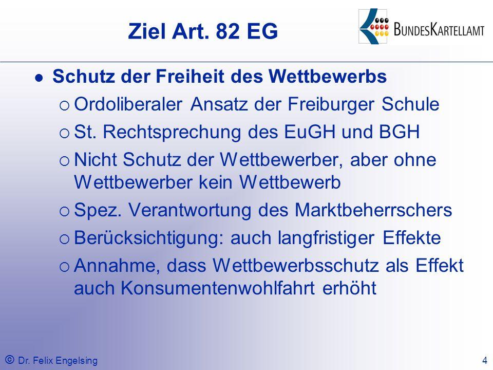 Ziel Art. 82 EG Schutz der Freiheit des Wettbewerbs