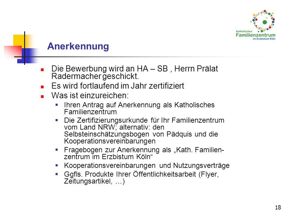 Anerkennung Die Bewerbung wird an HA – SB , Herrn Prälat Radermacher geschickt. Es wird fortlaufend im Jahr zertifiziert.