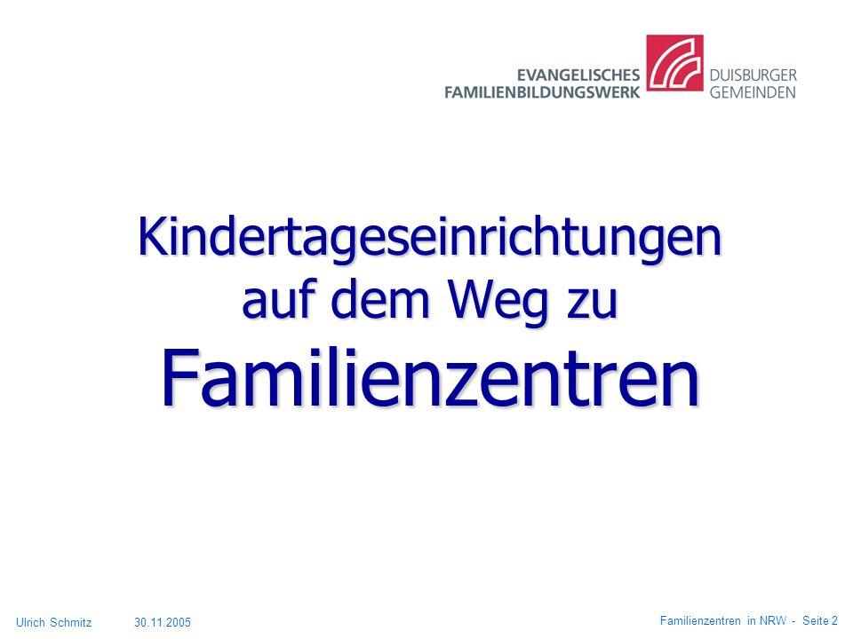 Kindertageseinrichtungen auf dem Weg zu Familienzentren