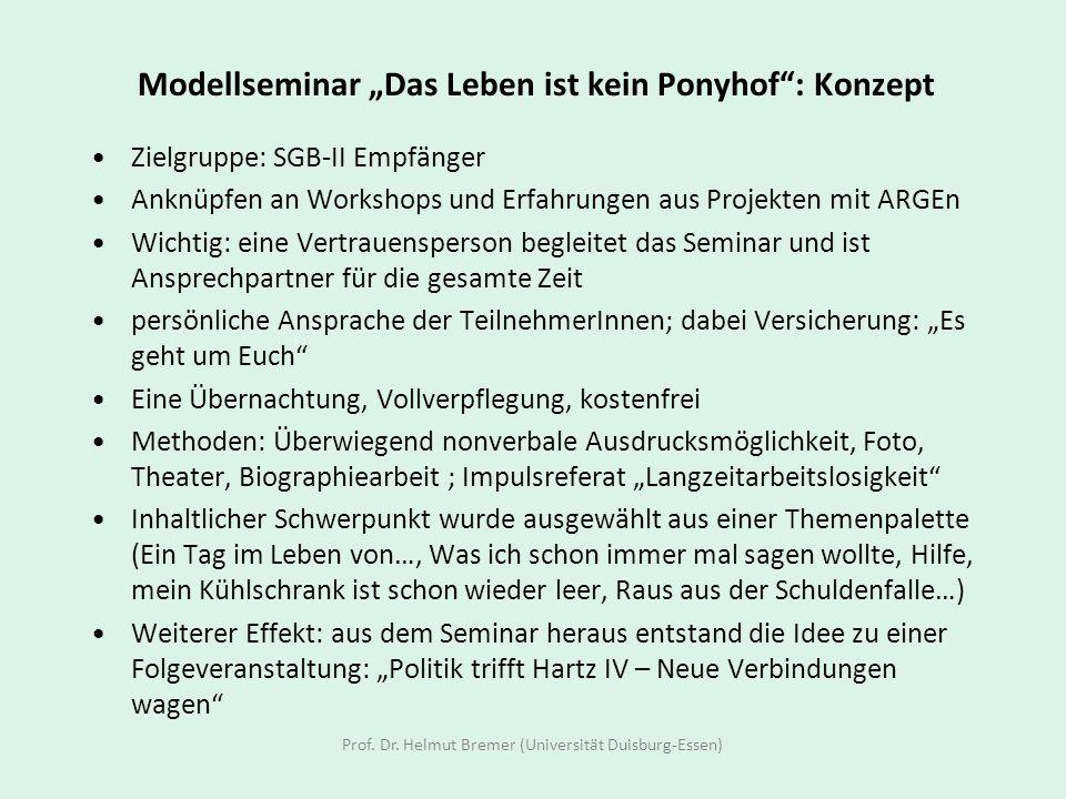 """Modellseminar """"Das Leben ist kein Ponyhof : Konzept"""