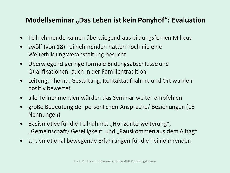 """Modellseminar """"Das Leben ist kein Ponyhof : Evaluation"""