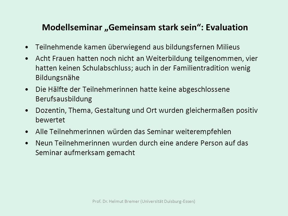 """Modellseminar """"Gemeinsam stark sein : Evaluation"""