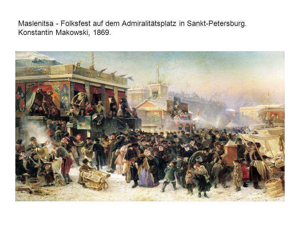 Maslenitsa - Folksfest auf dem Admiralitätsplatz in Sankt-Petersburg